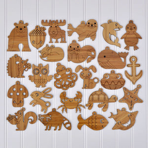 Wooden Animal Christmas Ornaments handmade in eco-friendly bamboo in woodland & ocean themes by Graphic Spaces