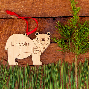 Original handmade woodland baby bear Christmas ornament personalized in choice of wood & engraved by Graphic Spaces