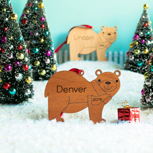 woodland animal bear christmas ornament personalized