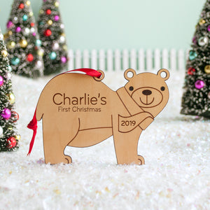 woodland bear christmas ornament personalized
