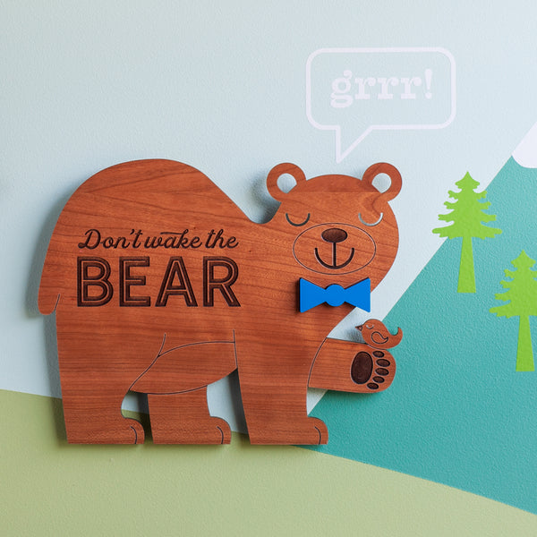 "Bear Wooden Wall Hanging ""Don't wake the bear"""