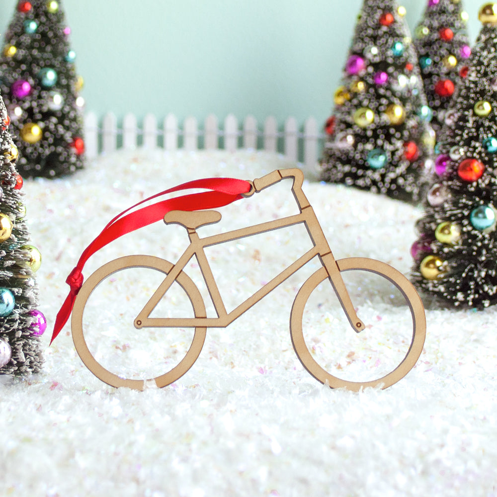 Bike Wooden Christmas Ornament: Boy or Girl - Graphic Spaces