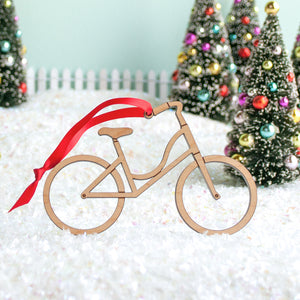 Bike Wooden Christmas Ornament: Girl Bicycle