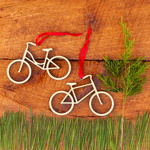 Cute original handmade wood bicycle Christmas ornaments in your choice of boy or girl bikes by Graphic Spaces