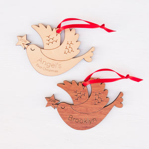 Original handmade woodland bird Christmas ornament personalized in choice of wood & engraved by Graphic Spaces