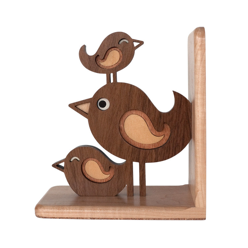 Bird Stack Wooden Bookend for woodland animal nursery decor handmade by Graphic Spaces