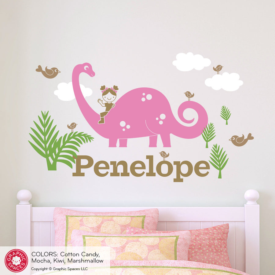 Brontosaurus Dinosaur Girl Rider Name Wall Decal