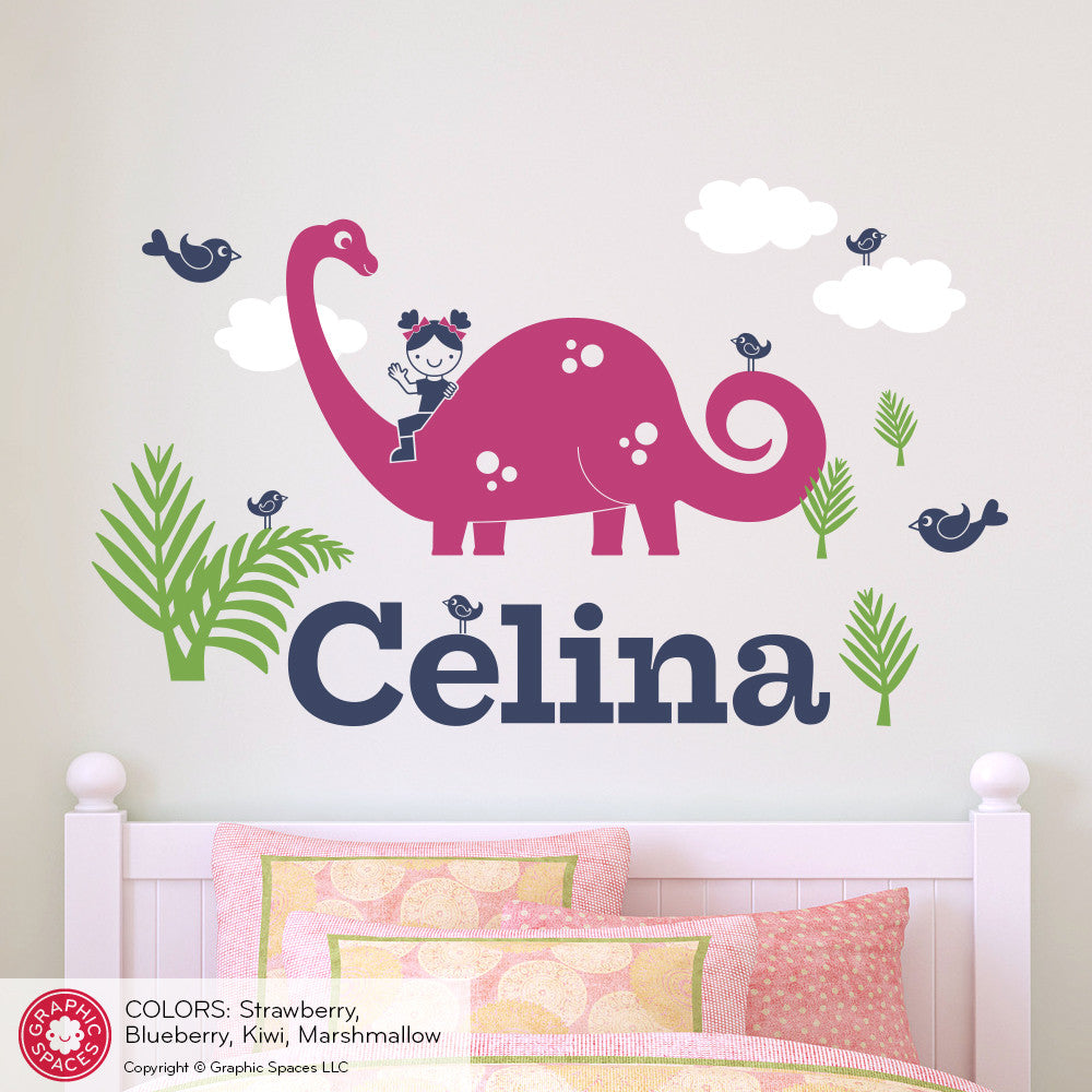 Brontosaurus dinosaur girl rider name wall decal graphic spaces brontosaurus dinosaur girl rider name wall decal amipublicfo Choice Image