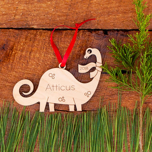 Original handmade Brontosaurus Dinosaur Christmas ornament personalized in choice of wood & engraved by Graphic Spaces