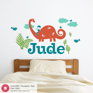 Brontosaurus Dinosaur Wall Decal with Name