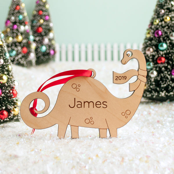 dinosaur Christmas ornament personalized brontosaurus