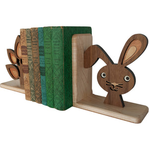 Bunny Wooden Bookend for woodland animal nursery decor handmade by Graphic Spaces