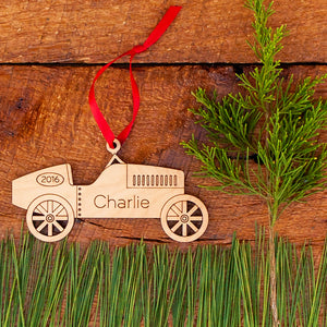 classic race car christmas ornament personalized