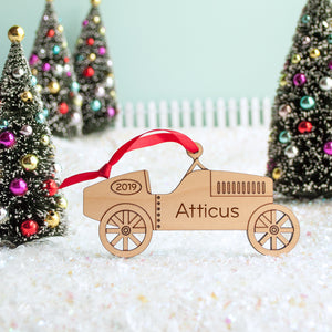 Car Wooden Christmas Ornament