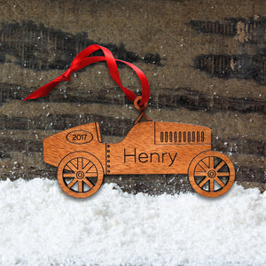 Original handmade vintage race car design Christmas ornament personalized in choice of wood & engraved by Graphic Spaces