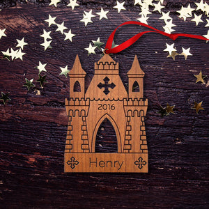 Handmade original castle Christmas ornament personalized in choice of wood & engraved by Graphic Spaces