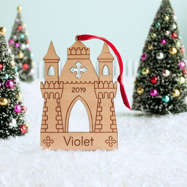 Princess castle christmas ornament personalized