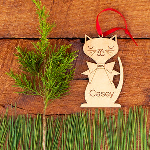 Handmade original retro cat Christmas ornament personalized in choice of wood & engraved by Graphic Spaces