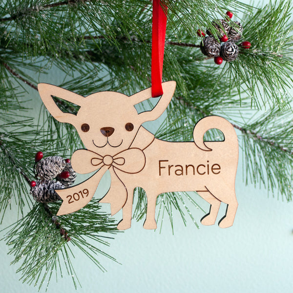 Wooden Dog Chihuahua Christmas ornament personalized puppy's first Christmas