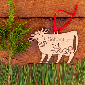 wooden cow christmas ornament personalized