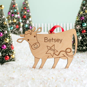 cow christmas ornament personalized