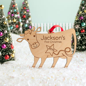 wood farm animal cow Christmas ornament personalized