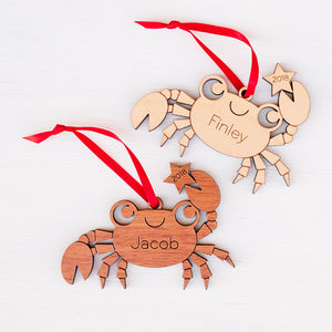 beach crab christmas ornament personalized