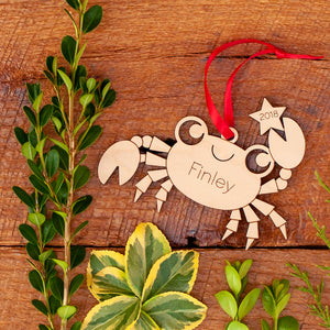 Handmade original ocean crab Christmas ornament personalized in choice of wood & engraved by Graphic Spaces
