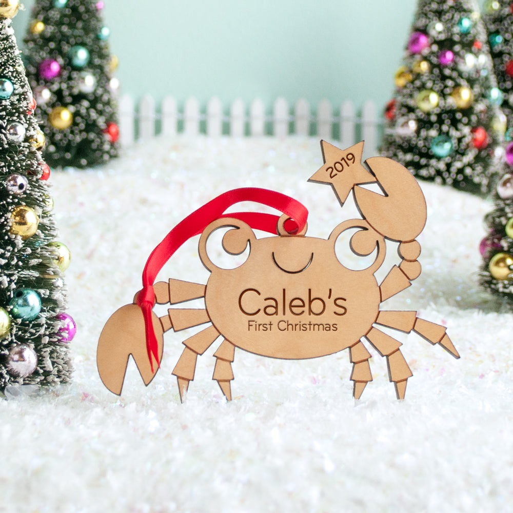 crab christmas ornament personalized