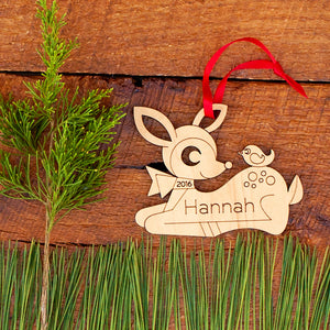 Handmade original woodland deer Christmas ornament personalized in choice of wood & engraved by Graphic Spaces