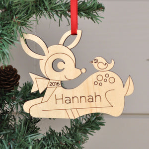 woodland deer christmas ornament personalized
