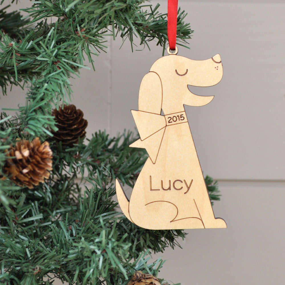 Dog Wooden Christmas Personalized Ornament Retro Bow  Graphic Spaces