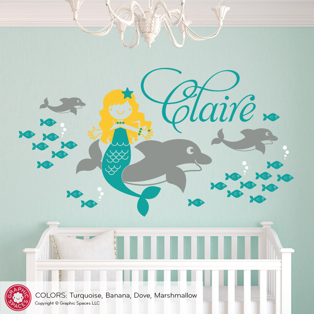 Dolphin mermaid wall decal graphic spaces dolphin mermaid wall decal amipublicfo Image collections