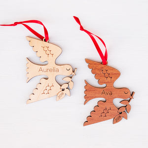 peace dove christmas ornament personalized