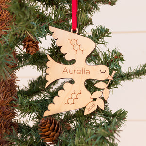 Handmade original peace dove Christian Christmas ornament personalized in choice of wood & engraved by Graphic Spaces