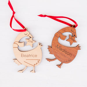 Handmade original farm duck or goose Christmas ornament personalized in choice of wood & engraved by Graphic Spaces