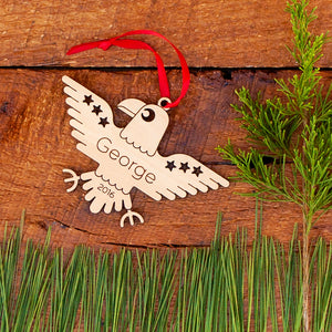 Handmade original patriotic American eagle Christmas ornament personalized in choice of wood & engraved by Graphic Spaces