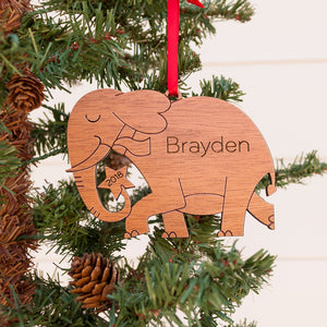 Handmade original safari elephant Christmas ornament personalized in choice of wood & engraved by Graphic Spaces