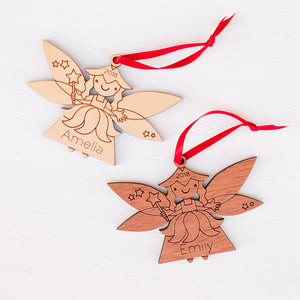 Handmade original fairy Christmas ornament personalized in choice of wood & engraved by Graphic Spaces