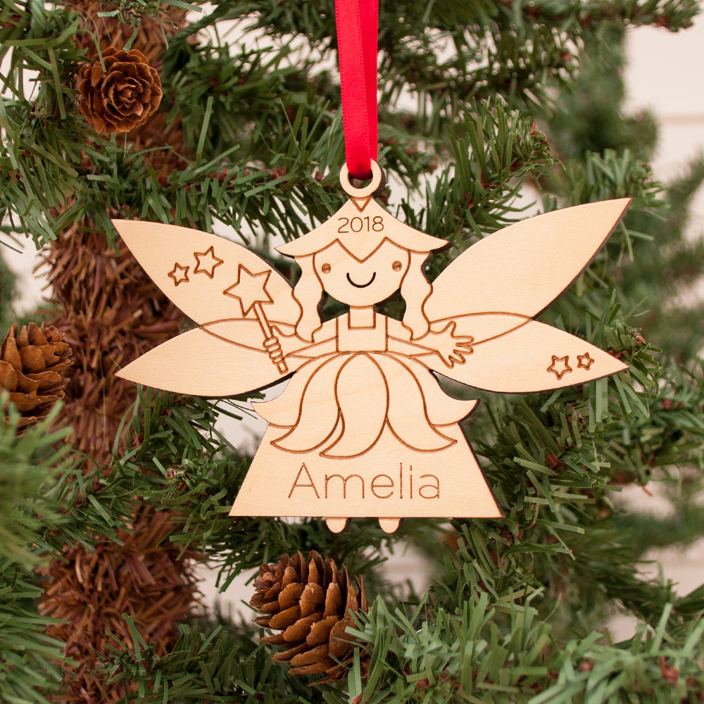 Personalized Fairy Wood Christmas Ornament Princess Graphic