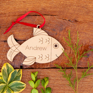 Handmade original ocean fish Christmas ornament personalized in choice of wood & engraved by Graphic Spaces