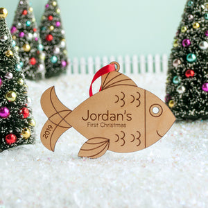 wood fish christmas ornament personalized