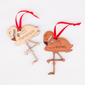 Flamingo Wooden Christmas Ornament