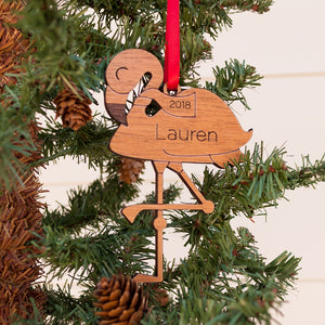 Handmade original flamingo Christmas ornament personalized in choice of wood & engraved by Graphic Spaces