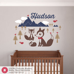 Fox Mountain with Name Wall Decal