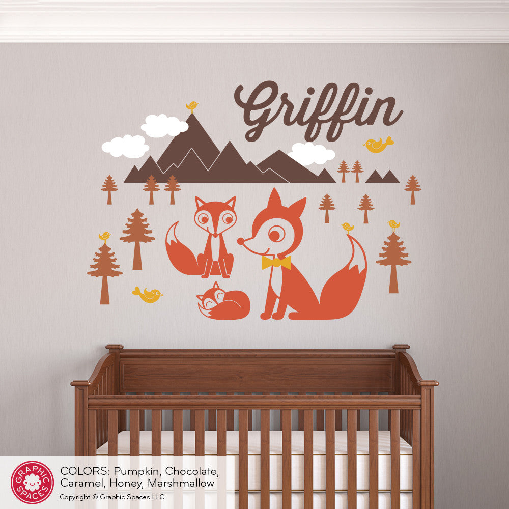 ... Fox Mountain With Name Wall Decal ...