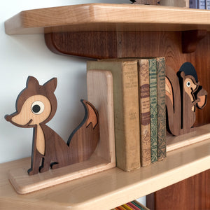 Fox Wooden Bookend for woodland animal nursery decor handmade by Graphic Spaces