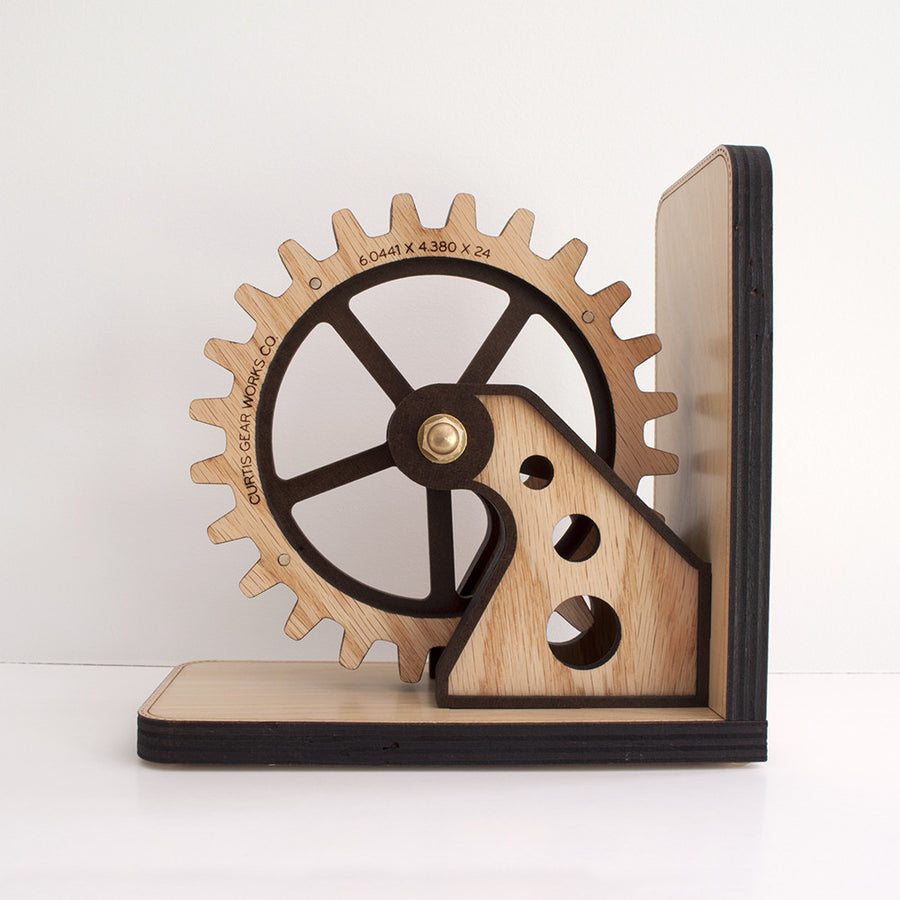 Personalized Wooden Gear Bookend for industrial decor handmade by Graphic Spaces