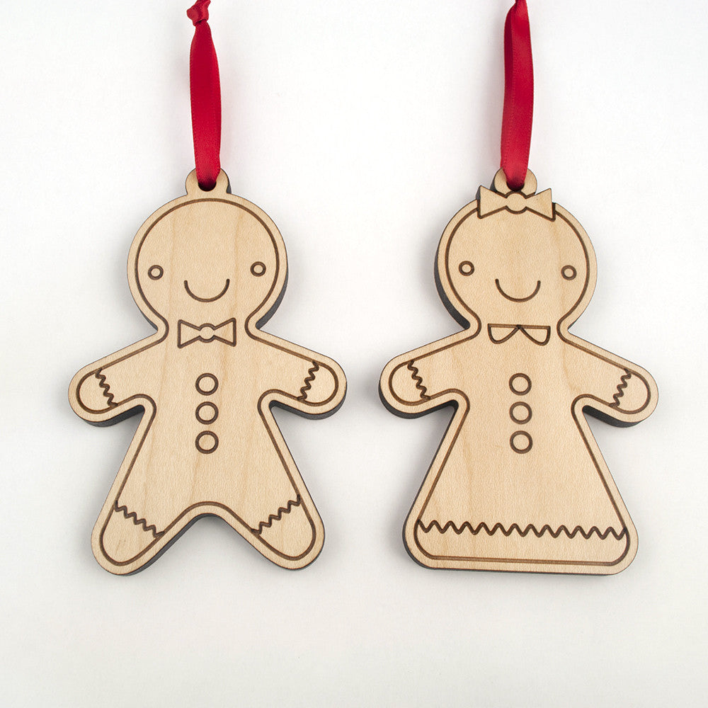 gingerbread wooden christmas ornaments set of 2 - Wooden Christmas Ornaments