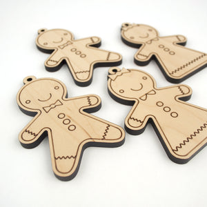 wooden gingerbread kids christmas ornaments